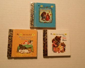 3 tiny mini Golden Books Bears Beast Kittens