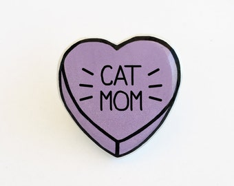 Cat Mom - Anti Conversation Purple Heart Pin Brooch Badge