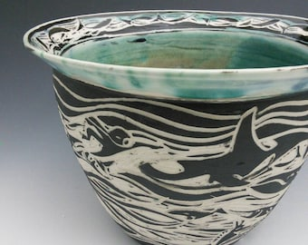 Sgraffito Whale and Swimmers Oceandream Vase