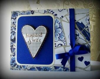 Wedding Card, Handmade Wedding greeting card, Husband and Wife, Bride and Groom, Delft style wedding card