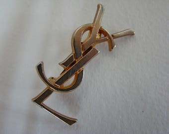 YSL Yves Saint Laurent initials logo brooch - vintage condition