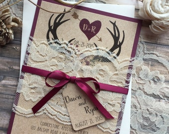 rustic wedding invitation antler wedding invitation lace wedding invitations country wedding invitations - Country Rustic Wedding Invitations
