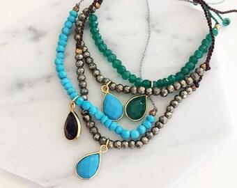 ON SALE Gemstone Bracelets - adjustable gem bracelets, beaded bracelets, boho bracelet, stacking bracelet