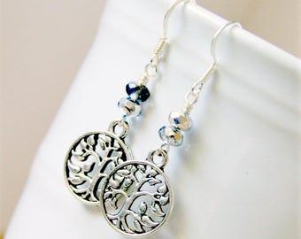 tree of life beaded silvertone drop earrings, dangle, bohemian, nature, mother's day, beaded earrings