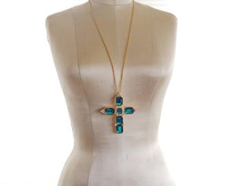 Alana Stewart Cross Pendant Chain Necklace Blue Crystal Pearl Details Signed