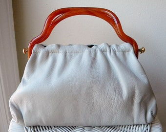 1960s Vintage Leather Handbag Bakelite Handles
