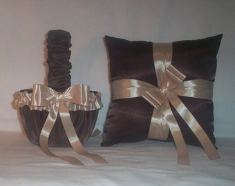 Chocolate Brown Satin With Champagne Ribbon Trim Flower Girl Basket And Ring Bearer Pillow