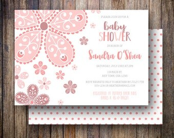 Floral Baby Shower Invitation, Floral Baby Shower Invite, Printable Baby Shower Invitation in Shades of Coral Pink and Raisin
