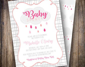 Rain Cloud Baby Shower Invitation, Baby Sprinkle Invite, Printable Clouds Shower Invitation - Rain Clouds in Shades of Pink, Coral, Gray