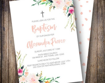 Baptism Invitation Girl, Watercolor Flowers, Greenery, Floral Baptism Invite, Printable Invite, Coral, Green, 710