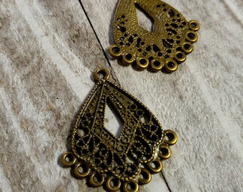 Chandelier Earring Findings Earring Blanks Earring Components Antiqued Bronze Chandelier Components Filigree 10 pieces