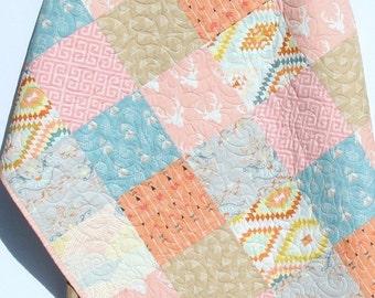 Rustic Baby Quilt Girl Crib Bedding Deer Blanket Brown Tan Coral Pink Blue Nursery Decor Woodland Toddler Bed Quilt Aztec Serape Arrows