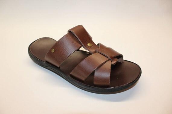 Greek sandals, mens sandals, mens slides leather size 40 U.S. 9-9.5