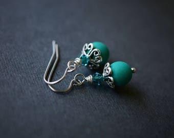 Matte Neon Green UV Earrings, Czech Beaded Earrings, Surgical Steel Earrings, Ornate Green Earrings