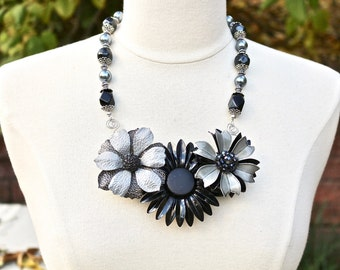 Vintage Enamel Flower Statement Necklace, Upcycled Brooch, Black Grey Charcoal Jet Onyx Silver, Collage Assemblage, Jennifer Jones, OOAK