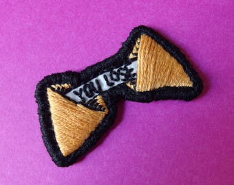 """Fortune cookie 'You lose' handmade embroidered 2"""" patch"""