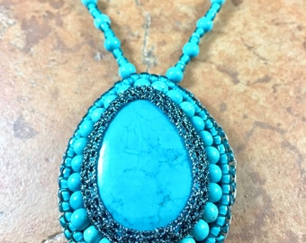 Turquoise Bead Embroidered Pendant on Beaded Necklace