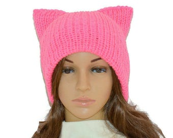 Cat Beanie,Pussyhat,Pink cat hat,Womens cat hat,Pink cat beanie,Pink pussyhat,Cat lovers gift,Winter hat,Pink Pussy hat -SALE