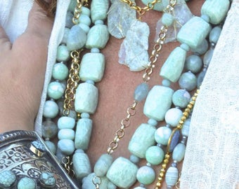 "Great Price! Long AMAZONITE NECKLACE with Sterling Silver Gold Vermeil Clasp Statement Necklace 28"" Long"
