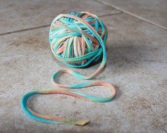 Tie dye Upcycled T Shirt Yarn, 70 Feet