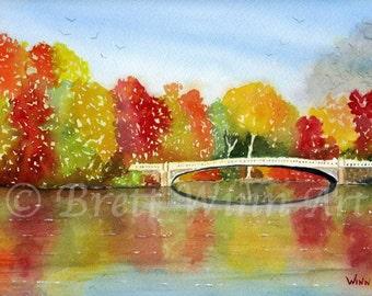 Central Park Print, Printable Art, Central Park Art, Home Decor, Autumn, Watercolor, Wall decor, Instant Download