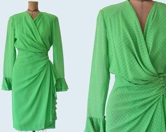 Akris Green Polka Pot Dress size S