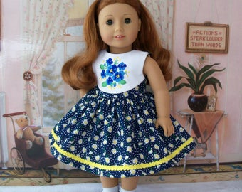 """SALE! Embroidered Spring Dress and Shoes / Doll Clothes fit American Girl®  Tenney, Maryellen, Kit, Melody or Other 18"""" Doll"""