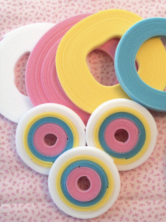 5 Yard  Pastel Rainbow Pack of Genuine Ultra Thin Doll Clothes Velcro® / Extra Thin Velcro®