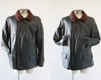 JACKET REQUIRED Vintage 40s Jacket | 1940's Horsehide Leather w/ Shearling | Horse Hide Carcoat | Rockabilly VLV, WWii Swing | Sz Mens Large