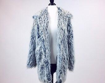 90's Ice Blue White Tips Shaggy Faux Fur Coat // L - XL