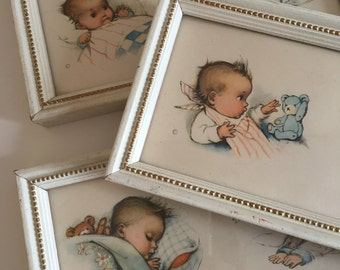 Nursery Decor Sleeping Baby Vintage Prints Wall Hangings Set of 3 Framed Prints