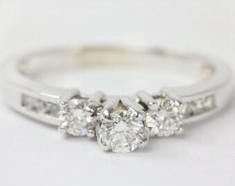 14K 0.69tw 3 Stone Diamond Engagement Ring, 3 Stone Ring w/ Accents, Diamond Engagement Ring, Diamond Ring, Diamond, Engagement, Dainty Ring
