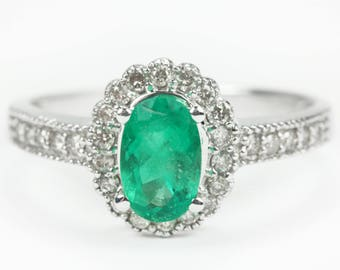 1.70ct Emerald Oval & Diamond Halo Engagement Ring, emerald engagement Ring, Art Deco emerald engagement ring, Floral Emerald Ring