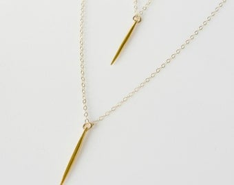 Needle Necklace Set, Spike Necklace, Dagger Necklace, Gold Layering Jewelry, Mini Point Necklace, Layered Necklace, Everyday Necklace,