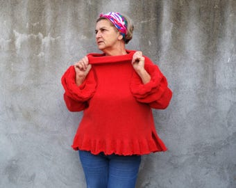 Women tops Sweaters & Cardigans handmade Hand knit Sweater...X L / XXL / Coral red