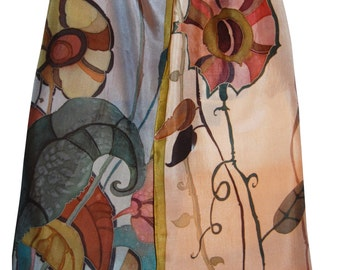 Silk Scarf Rust Ocher and Heather Gray Hand Painted Floral Silk. Painted Designer Scarf. Wearable Art. Floral Design. Two Color 15 x 65 inch