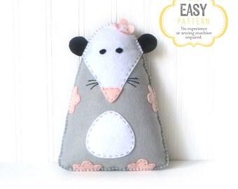 Opossum Sewing Pattern, Felt Possum Plush Stuffed Animal Pattern, Rat Rodent Plushie Pattern, Hand Sewing Pattern, Opossum Stuffie