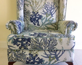 SOLD Reupholstered Coastal wing chair