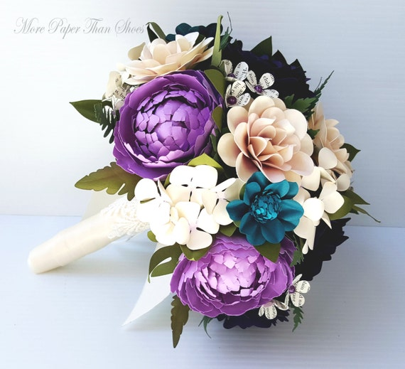 Paper Bouquet - Handmade Paper Flowers - Wedding Bouquet - Shades of Purple - MaryAnn - Customized Colors - Made To Order