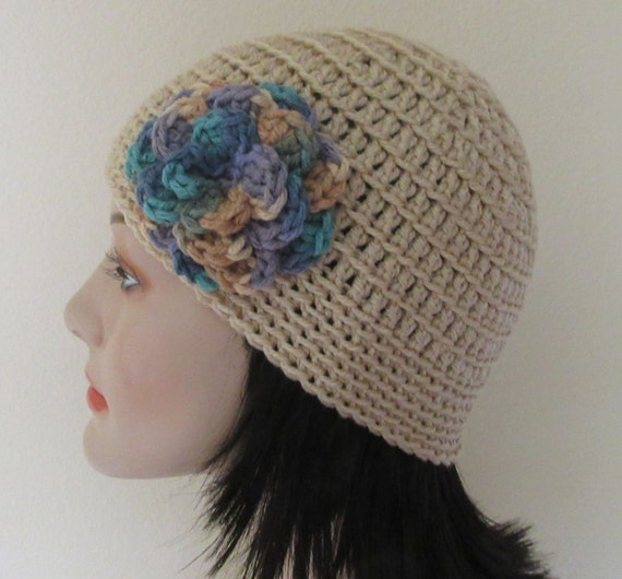 Reserved for Trish - Beige Beanie with Attached Flower Crocheted Beanie Beige Cold Weather Accessory Cloche Hat Hockey Mom Snow Playing