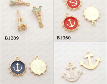 Collection Mix Enamel Charms Pendant Drop 3D Eiffel Tower/ Anchor Red/Blue/White C-372