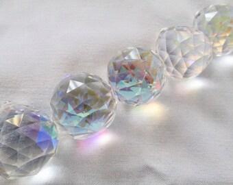 5 - 20mm AB Crystal Balls - Full Lead Crystal 20mm Faceted Chandelier Crystals Prisms Balls