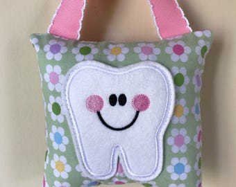 Tooth Fairy Pillow- Pastel Flowers Pillow with Light Pink Ribbon - Kids Pillow - Kids Gift