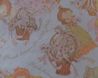 Vintage Thank Heaven For Little Girls Baby Shower Gift Wrap Wrapping Paper