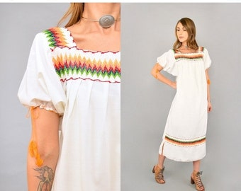 FEBRUARY SALE 70's Embroidered White Mexican Dress