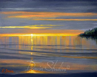 Reflections In The Water, Sunset Painting, Sunrise Painting, Seascape Painting ~ Signed Giclee Print called Reflections