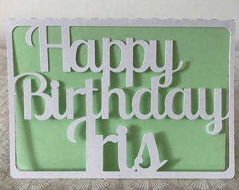 Greenery Birthday Card Personalised Cut Card Birthday Custom Birthday Card Any name - Choice of 10 colours - Free Worldwide Shipping
