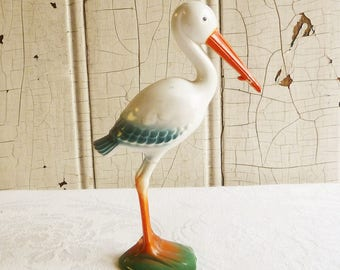 Plastic Stork Cake Topper - Baby Shower Decoration - Mid-Century 1960s - Gender Reveal Party - Baby Shower Centerpiece