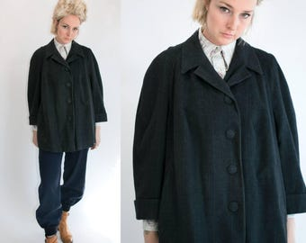 Vintage 60's Classic Heavy Wool Plaid Button Up Coat in Slate Grey Women's Retro Size Medium Large Outdoors Peacoat Mod