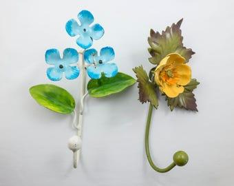 Vintage Painted Enamel Metal Flower Wall Hooks Shabby Cottage Woodland Rustic Decor